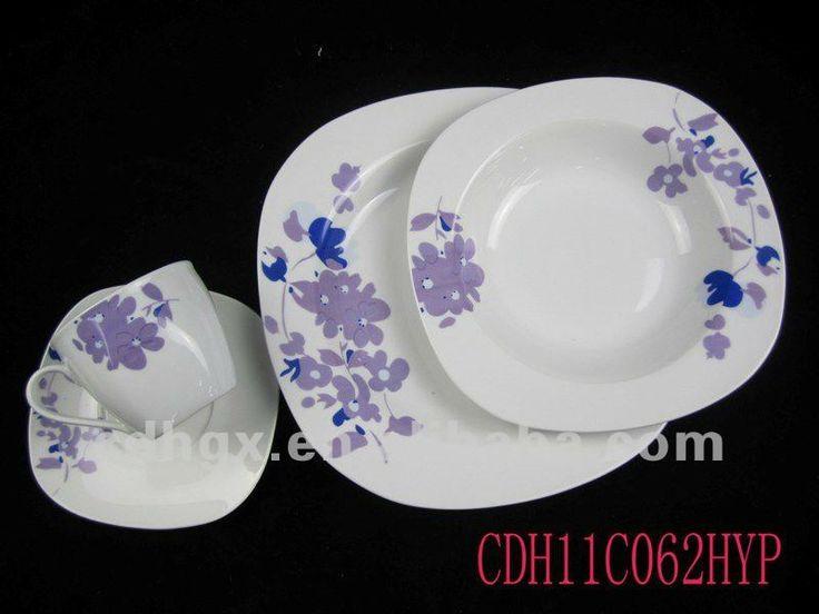 Fine China Dinner Sets purple | 16pcs french fine porcelain dinner set,purple flora square plates