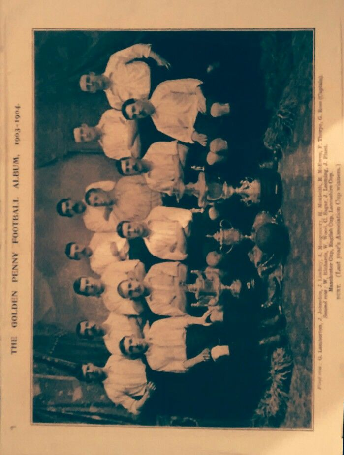 Bury FC team photo.  1903 FA cup winners following a 6 - 0 win over Derby County.