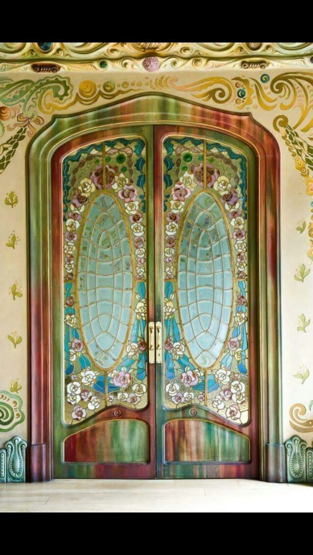 Stunning Hand Painted Door With Stained Glass