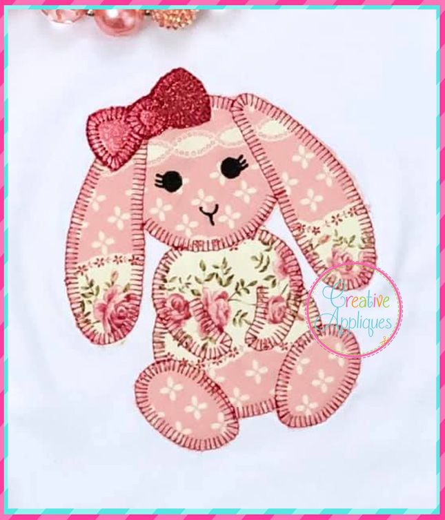 Blanket Stitch Flopped Eared Girl Rabbit Applique Creative Appliques Embroidery Designs Baby Bunny Quilt Sewn Christmas Ornaments