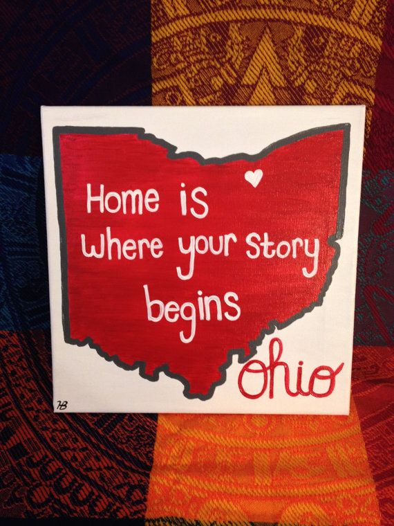 $20.   This 12x12 inch Ohio canvas is ready to hang in the home of Buckeye fans or any Ohio lovers! The canvas is hand painted with acrylic paint and varnished for protection.