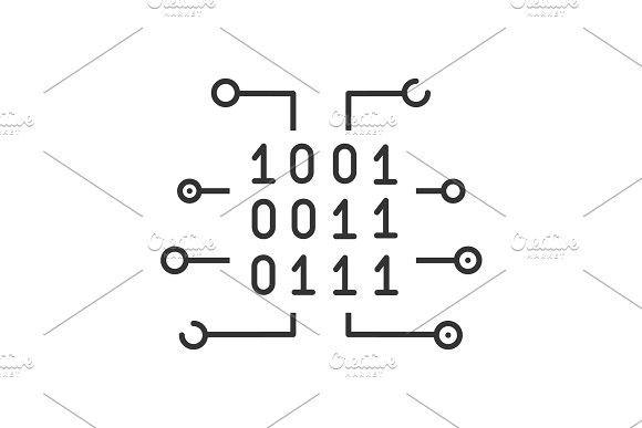 Binary Code Linear Icon Binary Code Coding Binary