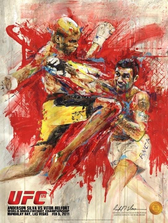 Fight Museum Store - Anderson Silva vs Vitor Belfort UFC 126 Official poster by HOF artist Richard T. Slone,  (http://www.fightmuseumlv.com/anderson-silva-vs-vitor-belfort-ufc-126-official-poster-by-hof-artist-richard-t-slone/)