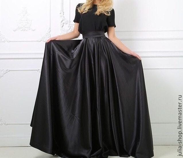 Купить или заказать Черная юбка солнце в пол в интернет-магазине на Ярмарке Мастеров. Отличная замена вечернему платью. Черная юбка выполнена из атласа.Длина юбки и расцветка по желанию заказчика. Атлас смотрится очень нарядно, из костюмной ткани будет более буднечно.По низу подол юбки около 8 метров. Юбка шьется по Вашим меркам.
