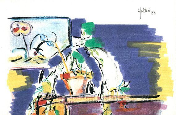 """""""Masques et plante"""" © alain halter. Crayons de couleur, feutres et encre de chine sur papier Canson"""