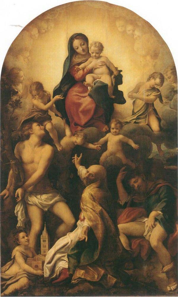 Madonna di San Sebastiano.  1524. Gemäldegalerie Alte Meister Dresda.  Commissionata dalla confraternita di San Sebastiano di Modena.