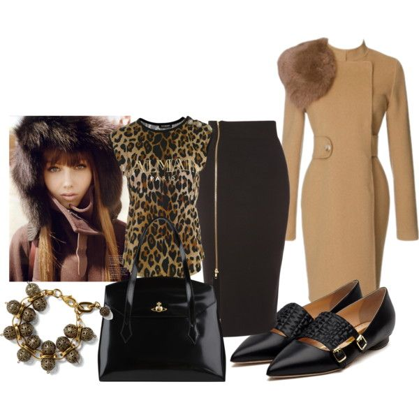 """brown fur outfit"" by ildikos on Polyvore"