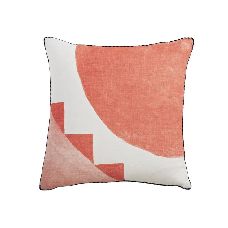 100% linen cushion hand screen printed with holiday tile design in peach finished with black and white piping (C905). Dimensions: 40cm x 40cm (feather insert included) Care Instructions: Remove insert and hand wash or gentle machine wash separately with gentle laundry liquid, line dry and iron on reverse whilst slightly damp. Please do not bleach, tumble dry or dry clean. To purchase cushion without its feather insert please apply the coupon code NOFILL at checkout.
