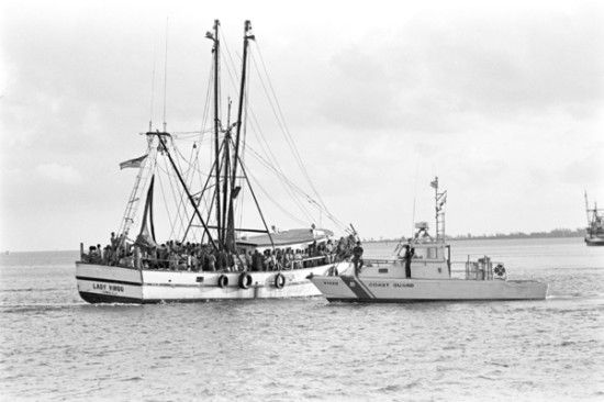 Shrimp boat Lady Virgo & coast guard boat. 1980 Mariel Boat Lift
