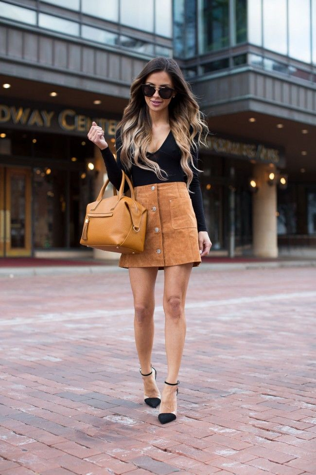 Camel Suede Skirt. Asos Bodysuit. Asos Suede Skirt. Zara Black Heels. Nasty Gal Sunglasses. GiGi New York Bag.