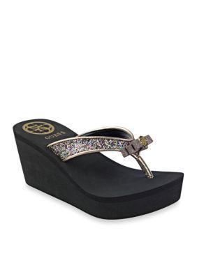 Guess Women's Saide Glitter Flip Flop - Black - 11M
