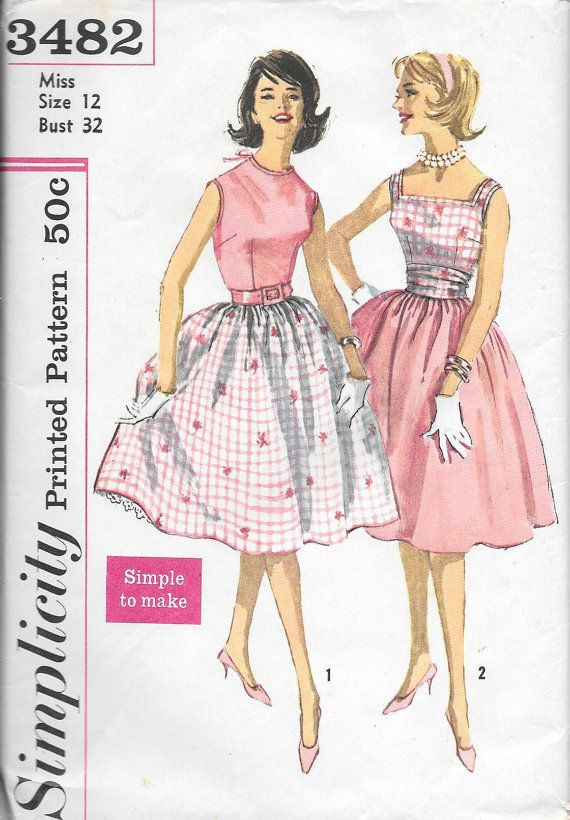 Vintage 1960s Simplicity Sewing Pattern 3482- Misses' Blouse, Skirt and…