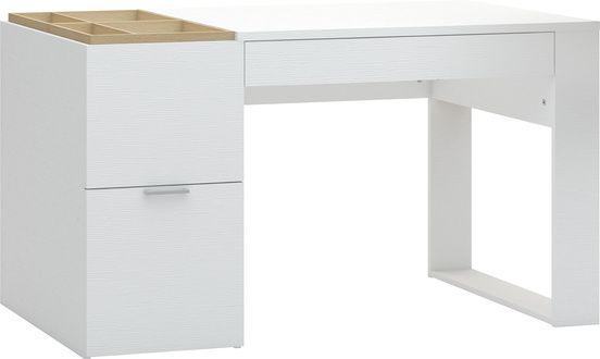 Cechy i korzyści Proste w formie biurko z funkcjonalnymi schowkami. Z lewej strony u góry znajduje się skrzynka na segregatory z dwoma przegrodami, przykryta dębowym wiekiem. Wieko stanowi oryginalny ...