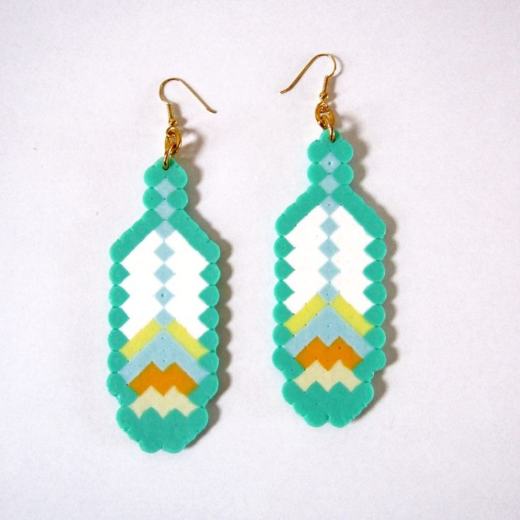 Double Mini Feather Fantasy Earrings perler beads by The Soft Museum.