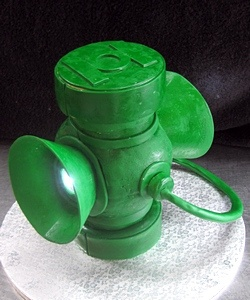 There's Robby's cake... The green lantern battery... How cool is that?