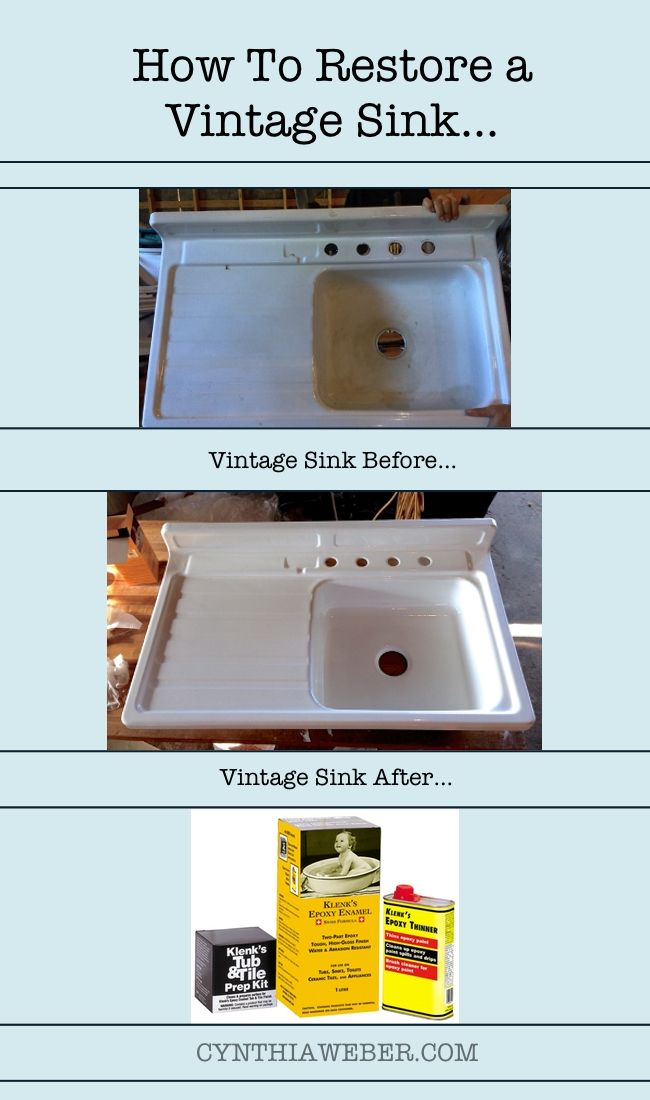 How to Restore a Vintage Sink… CYNTHIAWEBER.COM                                                                                                                                                                                 More