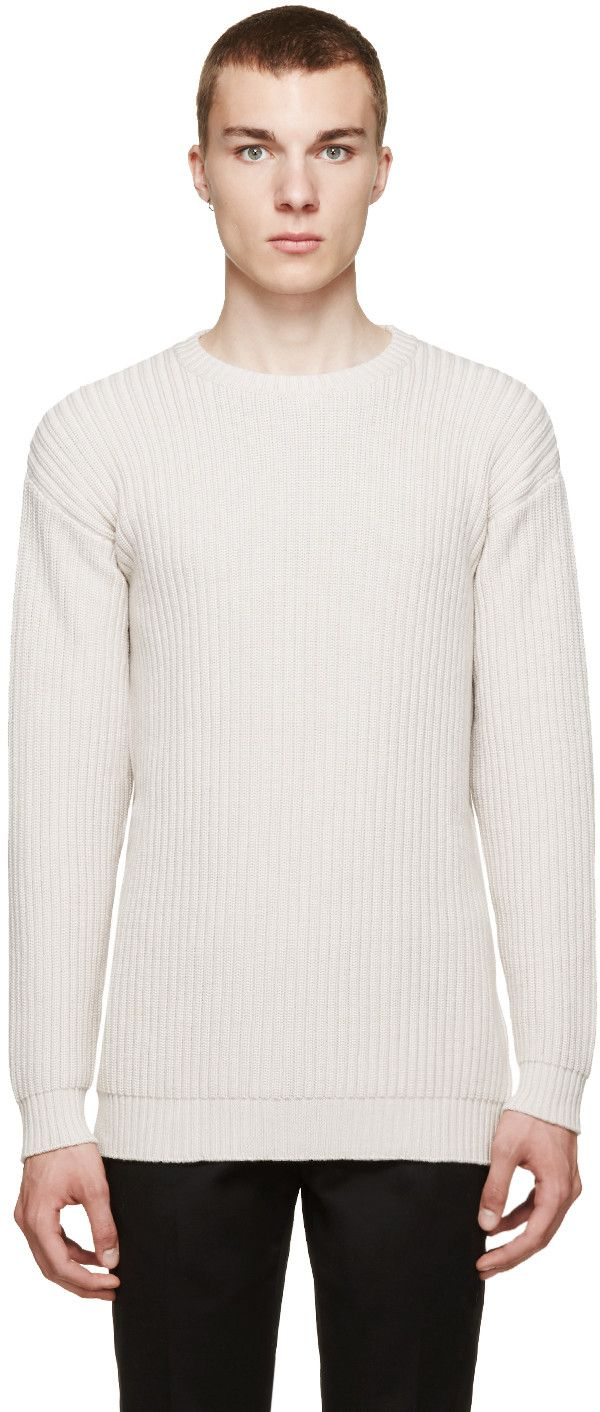 VERSACE Beige Ribbed Crewneck Sweater. #versace #cloth #sweater