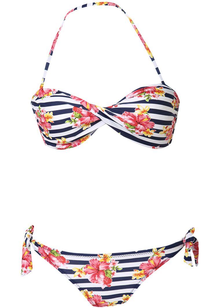 Navy White Halter Striped Floral Strapless Bandeau Bikini - Sheinside.com