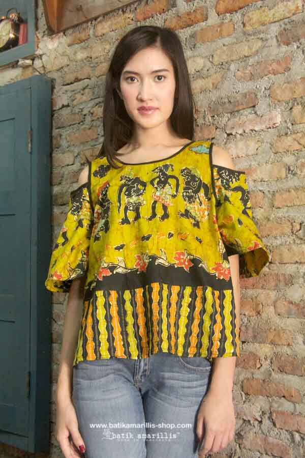 Batik Amarillis's painter Top ...Lovely and Romantic A Line Hem with bell shaped sleeves, Shoulder Cutout Top....
