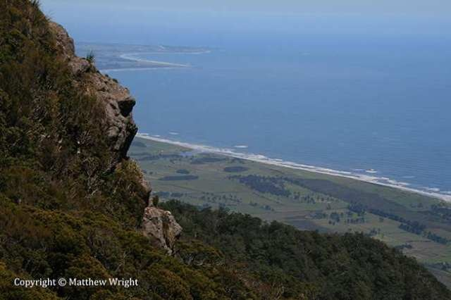 The view from the top of the Stockton plateau, looking southwest towards Westport, New Zealand.