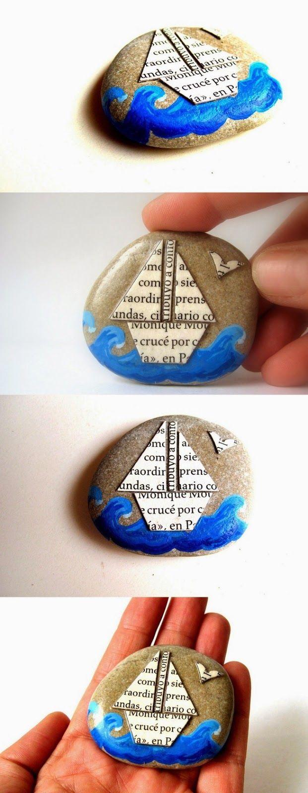 zeilbootje op een steen