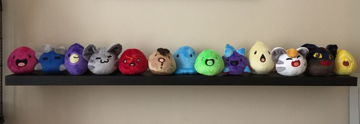 Has anyone here heard of Slime Rancher? I made plushies of (almost) all the in-game slimes so far.