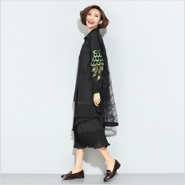 Fashion feather embroidery lace stitching leave two long-sleeved women 2016 new spring clothing US $52.78 /piece      CLICK LINK TO BUY THE PRODUCT  http://goo.gl/oYWEYs