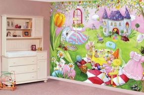 """A Pink Room for your Little Princess! Mural """"Mia's World"""" from Johanne Pépin. A wallpaper mural by Muralunique.com."""