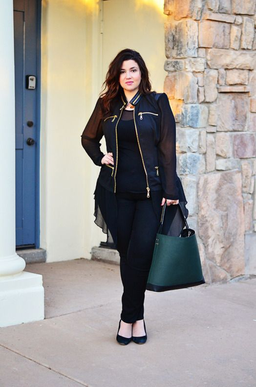 crystal coons plus model city chic moto jacket all black outfit ootd 2014