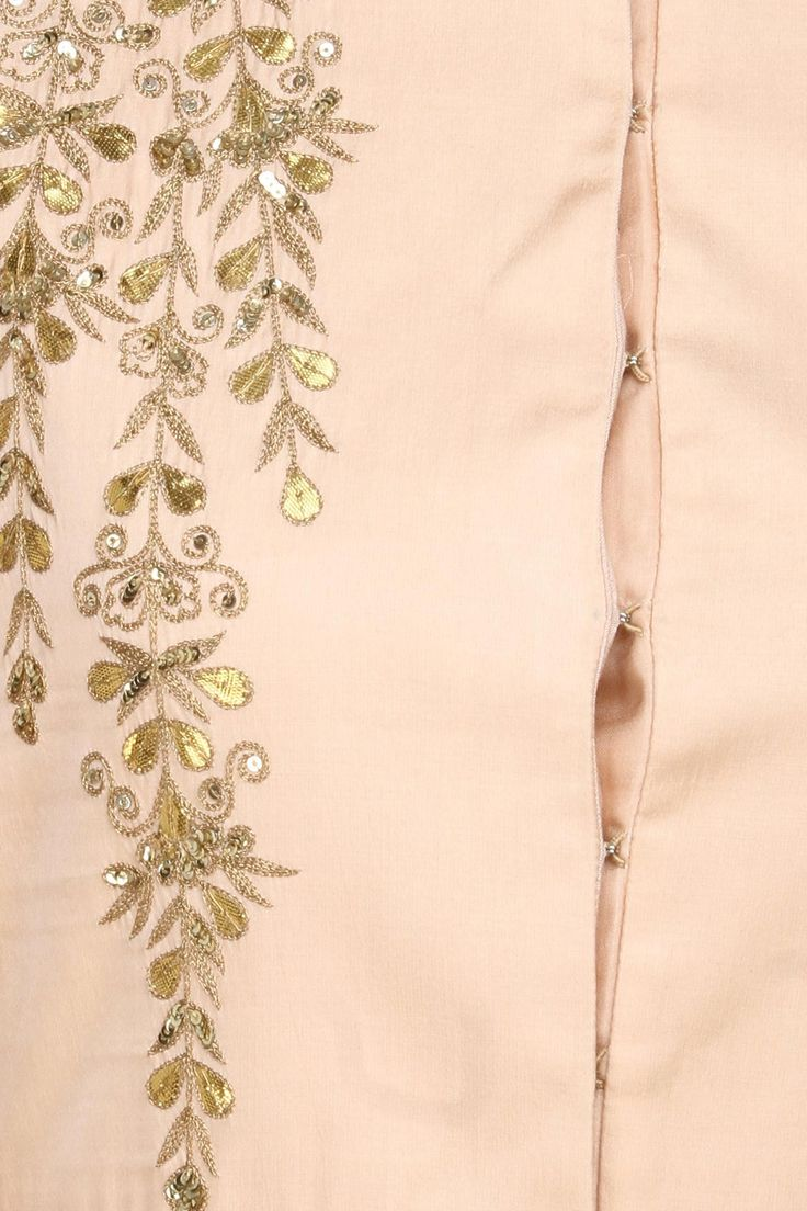 Pale pink and gold gota patti work high low cape available only at Pernia's Pop Up Shop.