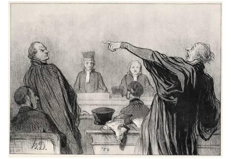 Honoré Daumier (The opposing lawyers) Art Poster Print Poster