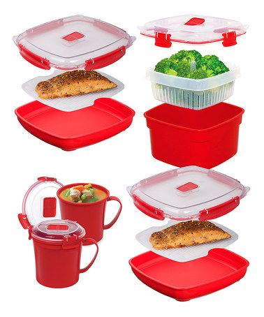Another great find on #zulily! Red Microwave Container Set by Sistema #zulilyfinds