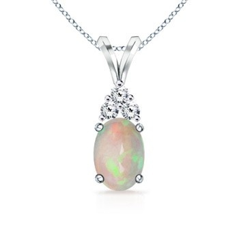 Angara Oval Shaped Opal Swirl Pendant in Platinum ooLXkSpS