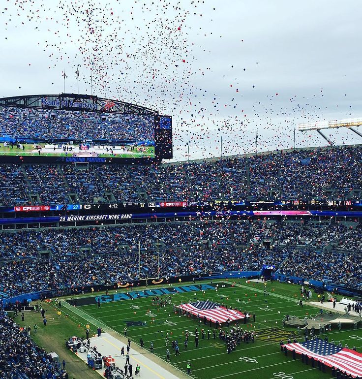 Bank of America Stadium showering confetti after the Carolina #Panthers won against the #Packers! Thanks @ayris04!  #SuperTailgate #tailgate #tailgating #win #letsgo #gameday #travel #adventure #stadium #party #sport #ESPN #jersey #sports #league #SportsNews #score #love #Football #NFL