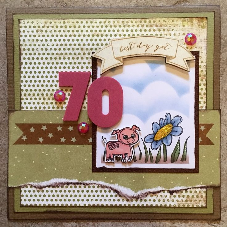 I made this card for my dad's 70th birthday. Stamps by Tingtura Design.
