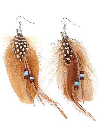 Pendientes largos con plumas y perlas finas                                                                                         marrón Mujer                                                                                                                                                     Más