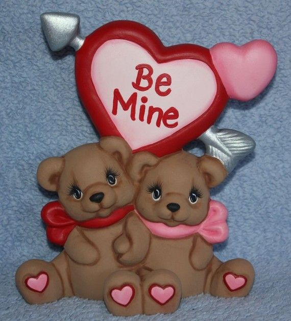 Handpainted ceramic Be Mine Bears Cuddling by FlutterbyConnections, $19.95