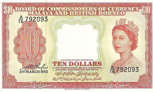 1953 Ten Dollars, Queen Elizabeth, Malaya & British Borneo bank note