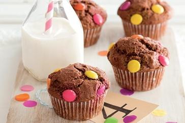 Chocolate polka dot muffins http://www.taste.com.au/recipes/28815/chocolate+polka+dot+muffins