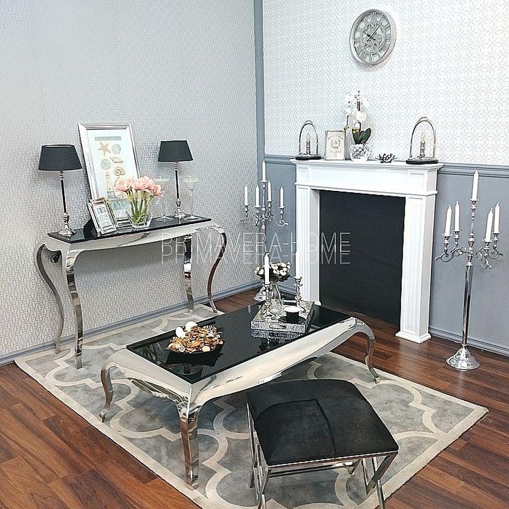 AMBER Konsola toaletka stal nierdzewna srebrna czarna biała w stylu Glamour