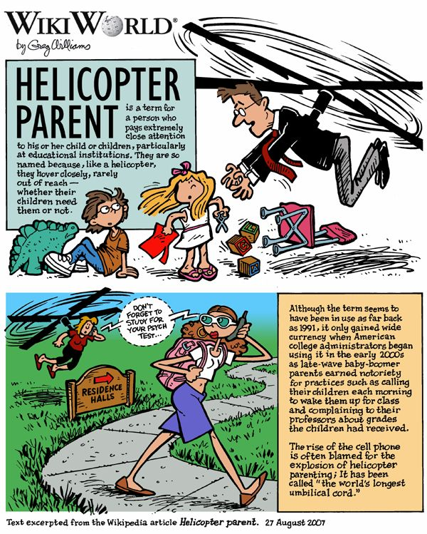 My Top Ten Reasons For Being a Notorious Helicopter Parent -Cartoon from an article by the mother of a 12 year old with autism.  (Note: Helicopter Parenting was first used in connection with parents of college students who continued extreme parenting with their adult children.)