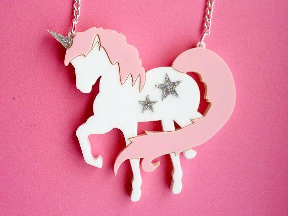 Acrylic Unicorn Necklace: UNICORNZZZ Pink and Silver Glitter Laser Cut Acrylic Unicorn Necklace on Etsy, $26.32 AUD