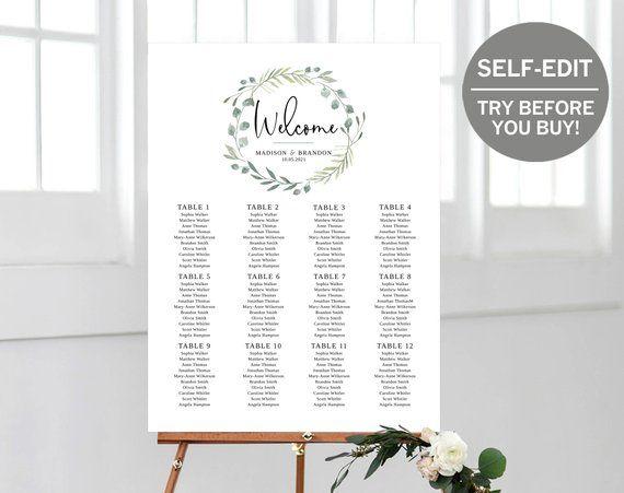 Wedding Seating Chart Seating Plan Template Try Before You Etsy Seating Chart Wedding Wedding Seating Plan Template Seating Plan Template