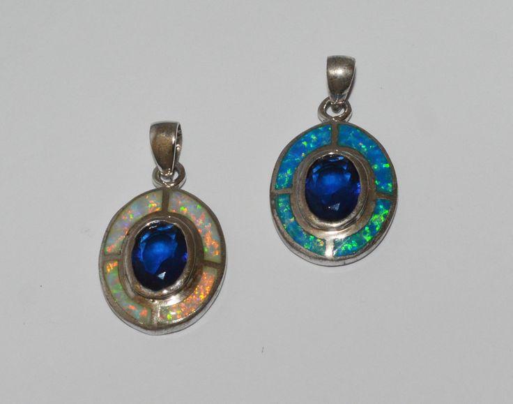 Oval opal & blue stone pendant