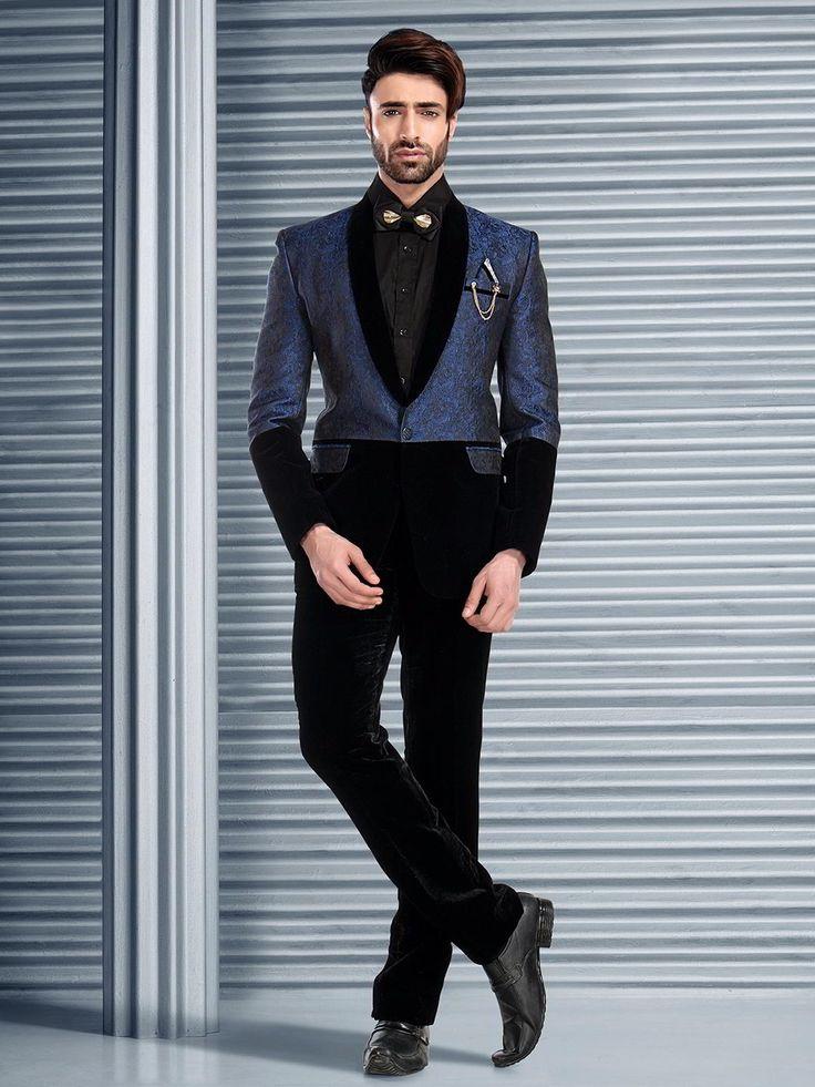 Чёрно-синий мужской костюм-двойка   рубашка с бабочкой