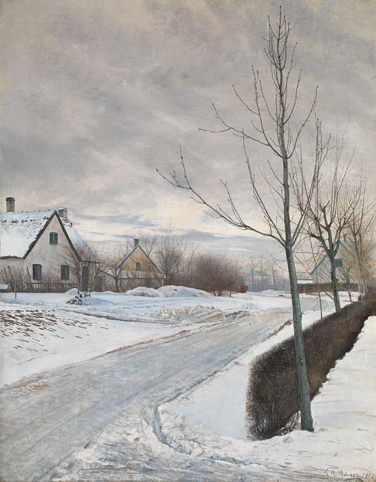 Laurits Andersen Ring, Road in the Village of Baldersbrønde (Winter Day), 1912