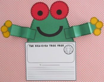 Red-eyed tree frog craftivity and writing activity included in Rainforest Activities for Primary Learners by First Grade Schoolhouse. $ Rainforest Layers, Rainforest Animals, and Saving the Rainforest.