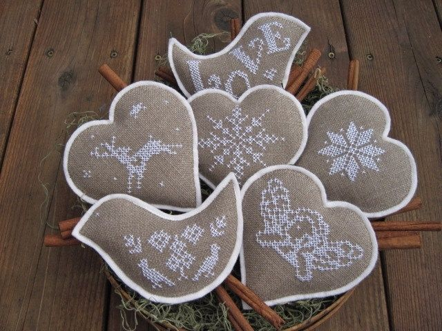 Cross stitch and felt Ornaments