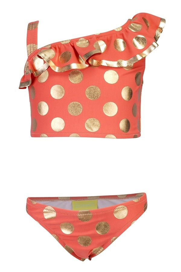 Claesen's bikini tankini voor meisjes Coral Dots Gold oranje