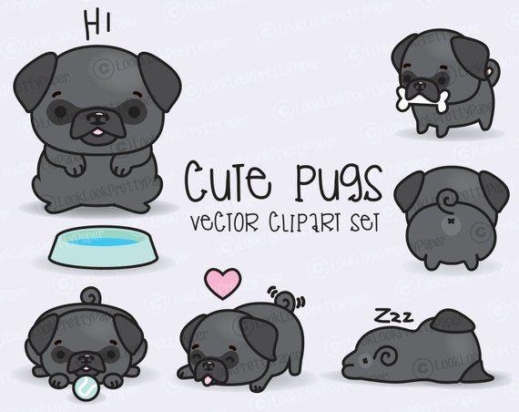 Premium Vector Clipart Kawaii Pugs Cute Black Pugs Clipart Set